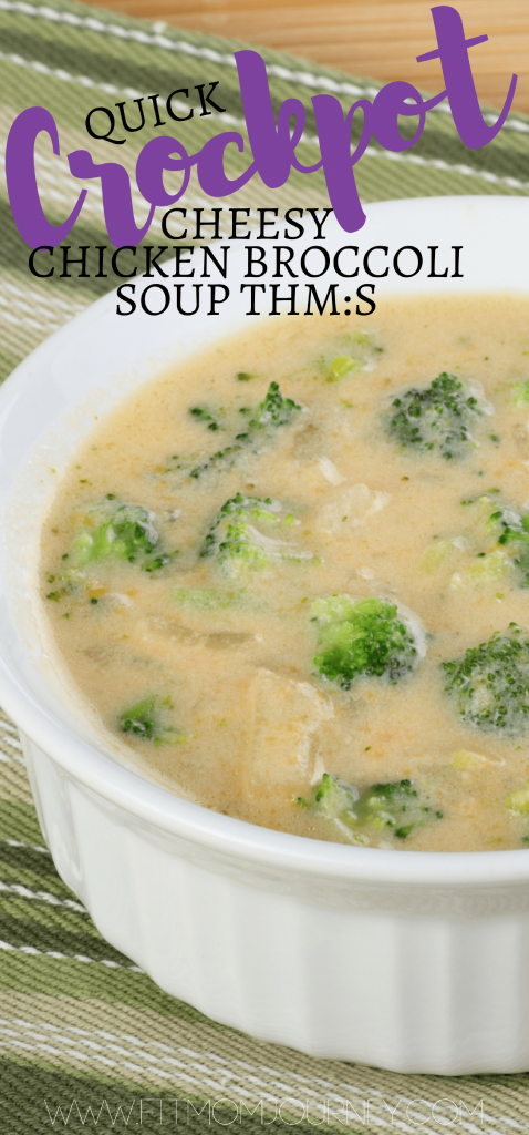 Satisfy a craving, warm up, and save time with this Easy Trim Healthy Mama Crockpot Chicken Broccoli Soup - it's cheesy, it's easy, and it's THM:S