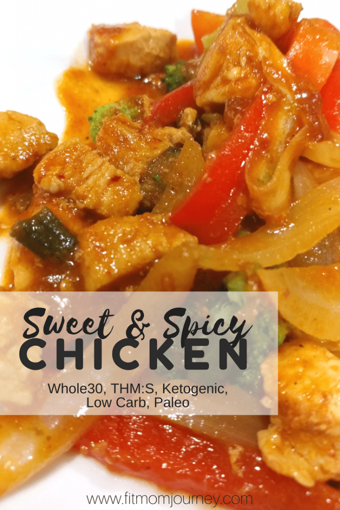 Craving Chinese takeout? Make this Sweet & Spicy Chicken Recipe that's Whole30 Compliant, Paleo, a THM:S, and Low Carb. Best of all, it comes together in 30 minutes!