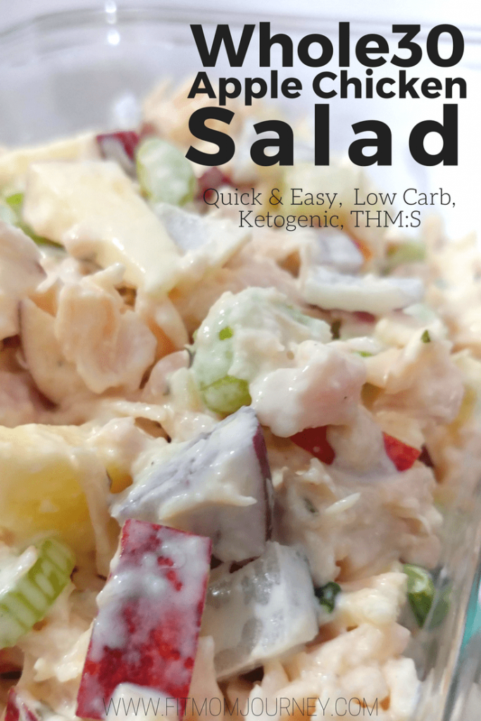 A quick and easy meal free of additives: Whole30 Apple Chicken Salad comes together in 5 minutes and is sweet, tangy, and crunchy all at the same time. So good!