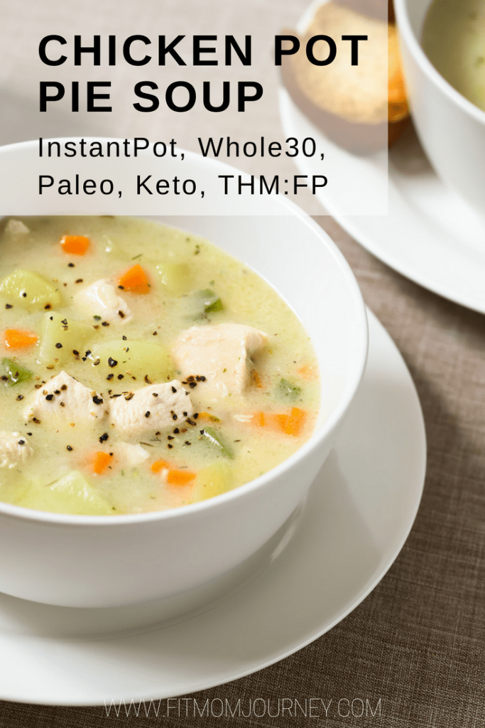 Whip up this delicious, creamy, hearty Whole30 Chicken Soup that will satisfy both Chicken Noodle Soup Lovers and Chicken Pot Pie Lovers in your InstantPot. This recipe is Keto, a THM:S, Low Carb, and Paleo in addition to being Whole30.