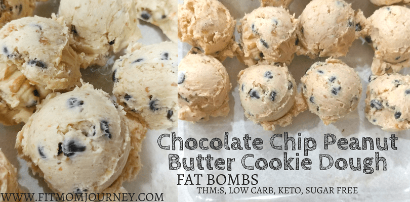 Looking for a quick and tasty recipe to help you get more fat in your diet? Make these no-cook Chocolate Chip Peanut Butter Cookie Dough Fat Bombs that are THM:S, Low Carb, Ketogenic, and Sugar Free!