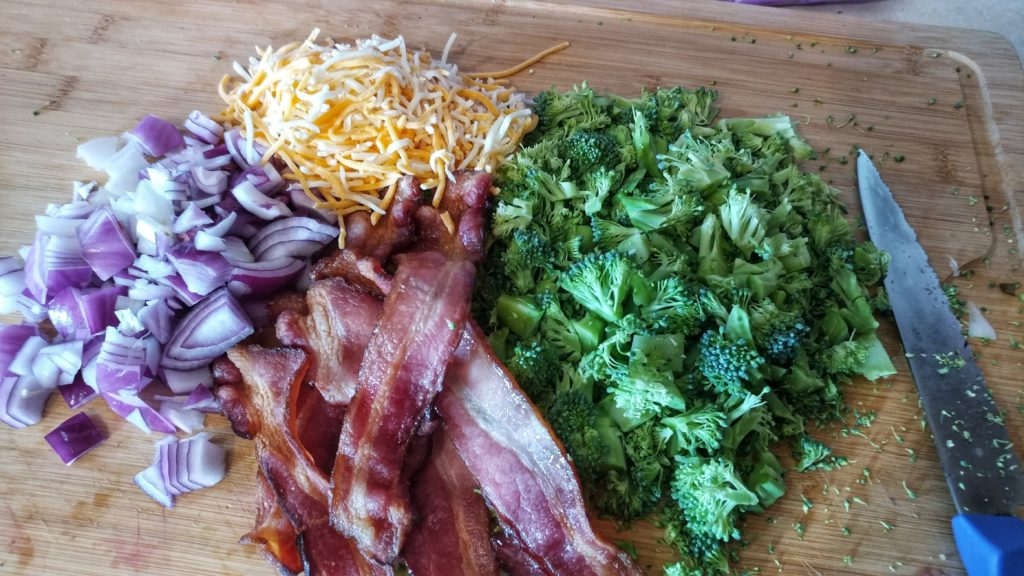 Keto Broccoli Salad {THM:S, Low Carb, Ketogenic} Broccoli salad with bacon, mayo, and a hint of sweeteness has been around forever.  I can't actually remember the first time I tried it...it's just always been something I've been familiar with.  The best version, in my opinion, is the Amish version (don't the Amish make everything better?).  Their dressing uses sugar, but I subbed that out for Lakanto Classic Monkfruit sweetener.