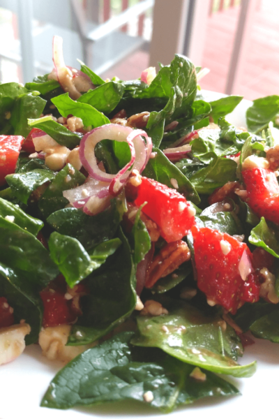 Keto Spinach Salad with Strawberries, Feta, & Pecans