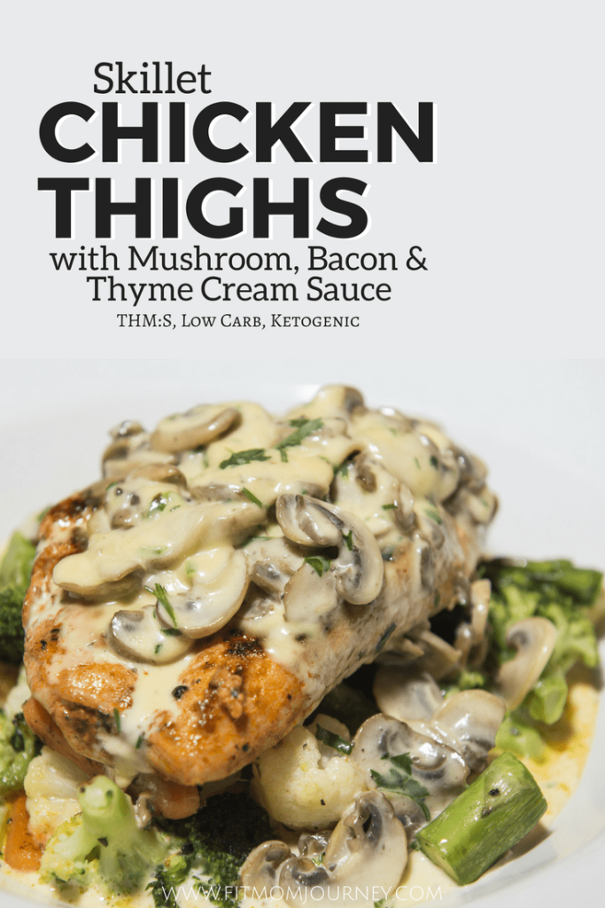 Need a quickly weeknight dinner? Look no further than these Skillet Chicken Thighs with Mushroom, Bacon and Thyme Cream Sauce.