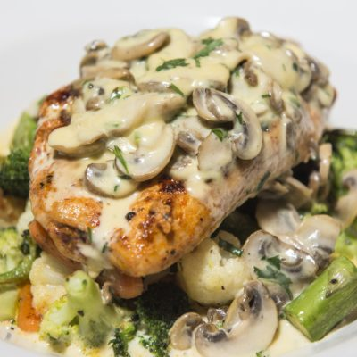 Skillet Chicken with Mushrooms, Bacon and Thyme Sauce