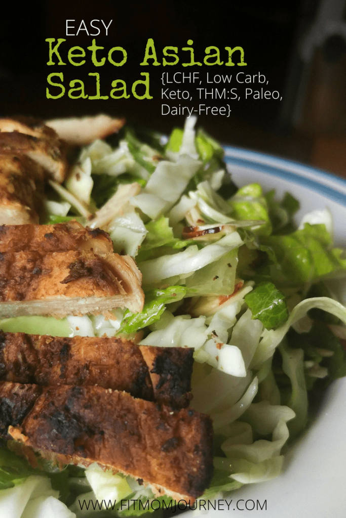 My Easy Keto Asian salad comes together in 5 minutes, is a THM:S fuel, ketogenic, LCHF, Paleo, Whole30 and Dairy Free - also it's delicious!