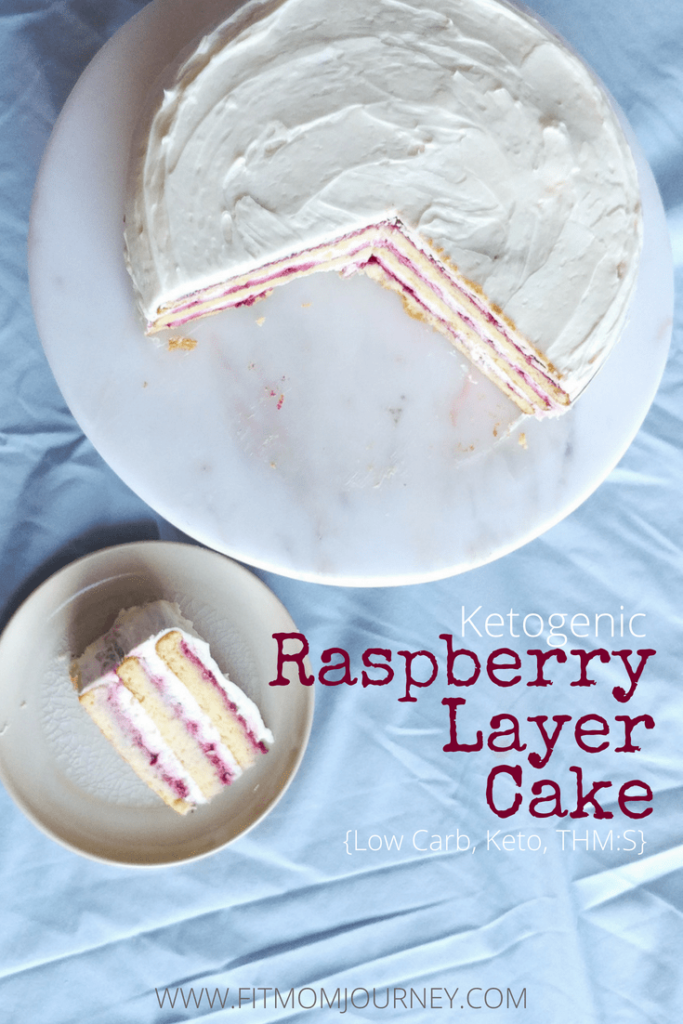 Special Occasion Keto Raspberry Layer Cake: Filled with raspberry reduction and mascarpone cream, then topped off with a bit of keto buttercream, this cake is every bit as good as a bakery cake.  You can take it to a special event, and its good enough that no one will know it's keto!