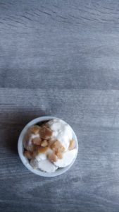 Keto Salted Caramel Ice Cream is sugar-free sweet cream ice cream with honest-to-goodness keto chewy caramel chunks swirled within the ice cream. The ultimate indulgence that comes in at under 2 net carbohydrates per 1/2 cup serving.