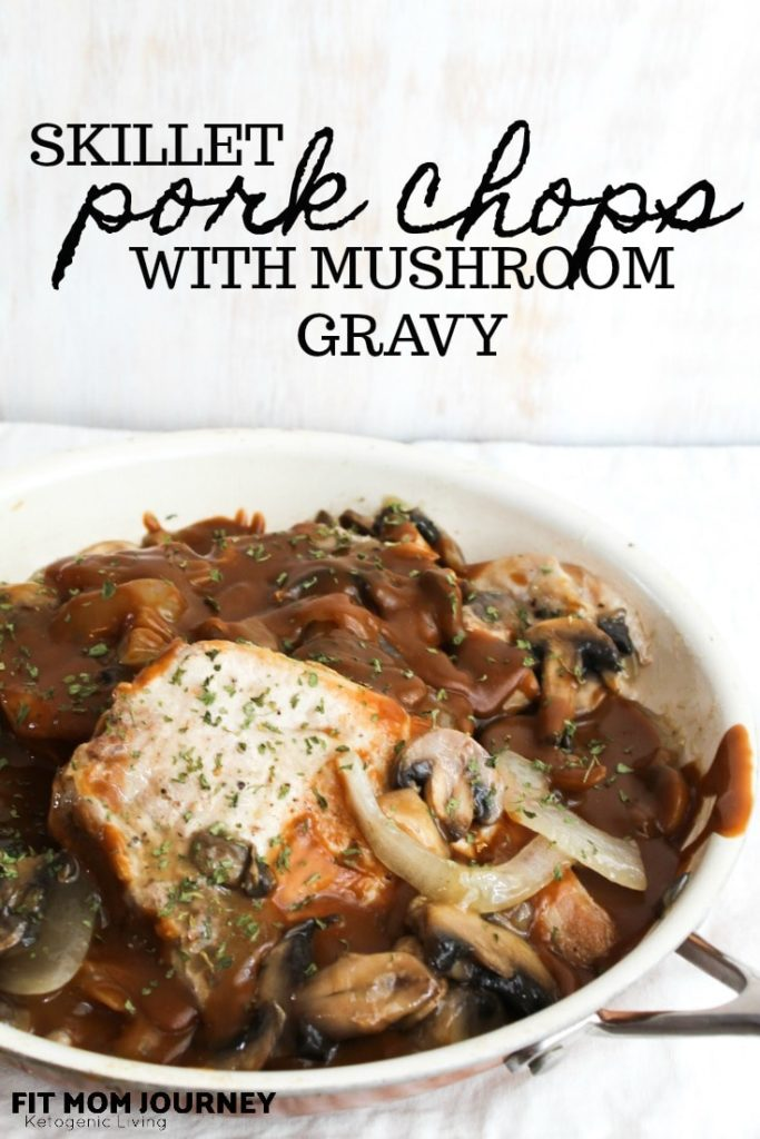 An easy on-pan meal the whole family will love, Skillet Pork Chops in Mushroom Gravy are low carb, ketogenic, a THM:S Fuel, and very cost effective if you're on a budget!