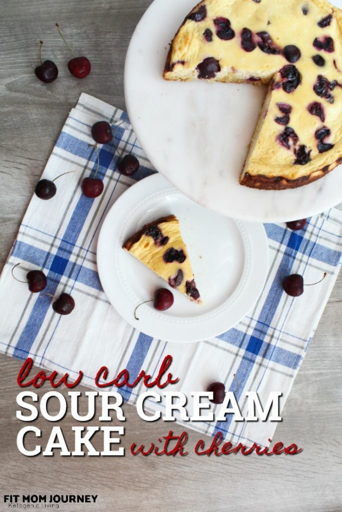 A tender sour cream cake with light flavor, topped with sweet & tart cherries, my Low Carb Sour Cream Cake is the perfect addition to breakfast, or as dessert after dinner.