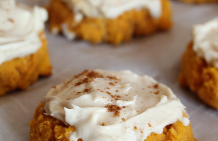 Keto Pumpkin Cookies with Maple Cream Cheese Frosting