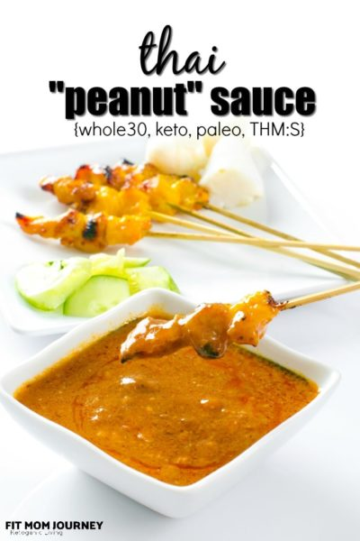 """This Whole30 Thai """"Peanut"""" Sauce is chock full of flavor, a hint of sweetness from the almond butter, and goes well with chicken, pork and fish, especially when paired with vegetables like butternut squash and cauliflower. It can provide a kick for otherwise bland meals and keeps well in the fridge!"""