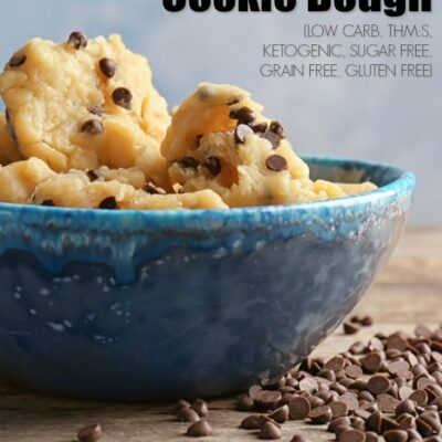 An easy 5-minute recipe for Edible Keto Chocolate Chip Cookie Dough. A guilt-free, grain-free, gluten-free, sugar-free bowl of deliciousness that uses ingredients you already have on hand!
