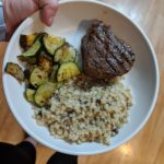 An easy Whole30 Sous Vide Ribeye marinated in ghee, rosemary and thyme that is so good you'll forget you're on the Whole30! Of course, it is served with Cauliflower Mushroom Risotto for a full meal.