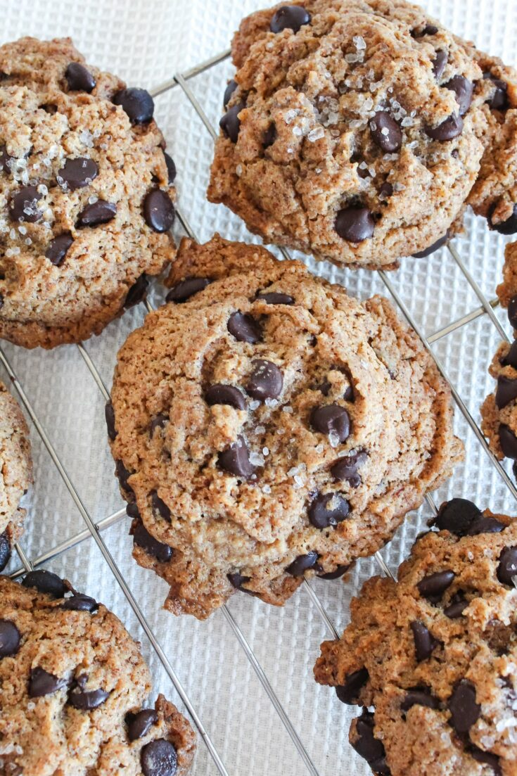 Chewy Keto Chocolate Chip Cookies with Sea Salt