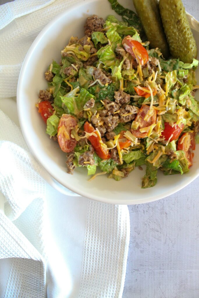 An easy and quick recipe for Low Carb Big Mac Salad.  Tastes just like the beloved burger but without all the carbohydrates!