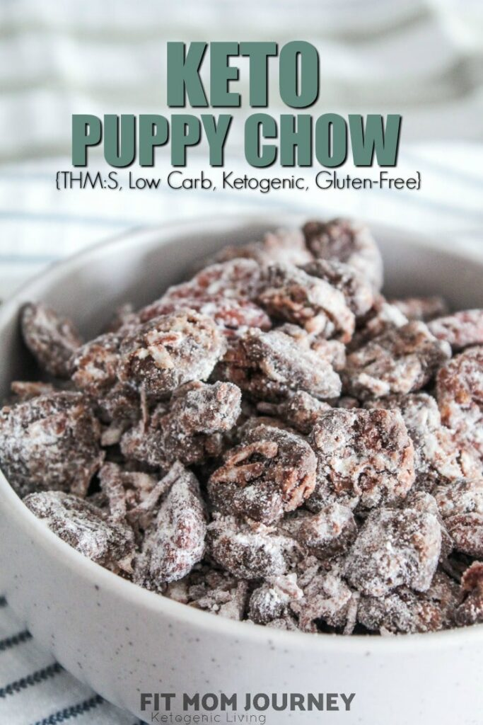An easy, healthy, Keto Puppy Chow Recipe {Keto Muddy Buddies} that uses ingredients you probably already have in your Keto kitchen!  With crunchy cereal bits coated in peanut butter, chocolate, and then powdered sweetener, this will satisfy any sweet craving you have!
