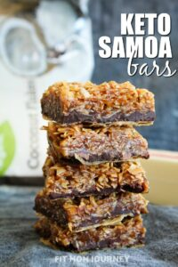 Between the buttery crust, the caramel coconut filling or the delightful chocolate, these Keto Samoa Bars will make you forget there ever was a sugary cookie with this same name!