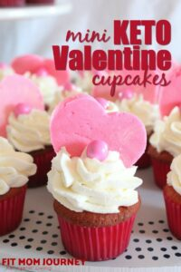 Sweet little Mini Keto Valentine Cupcakes with vanilla mascarpone frosting are the perfect treat for kids or adults. They can be made as mini cupcakes or full size!