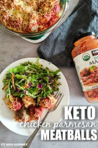 A quick and easy dinner using ingredients you already have on hand, Keto Chicken Parmesan Meatballs are wonderful as dinner, as well as leftovers the next day.