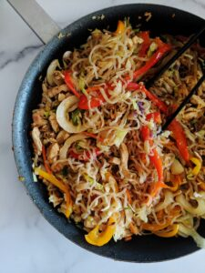 Making Keto Lo Mein is simple! With some chopping, frying, and tossing, you'll have a veggie and protein-packed lo mein that is ketogenic and a takeout copycat right in your kitchen.