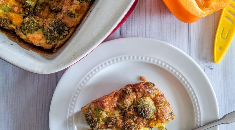 A recipe we've been making on repeat, Keto Egg Casserole is loaded with broccoli, peppers, and bursting at the seams with flavor! I make one almost every week for my husband, which feeds him breakfast all week.