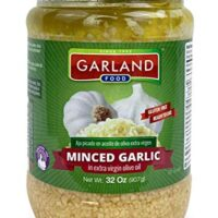 Premium Minced Garlic in Extra Virgin Olive Oil - Superior Quality - LARGE Container - NO Artificial Ingredients - 32 Ounces By Garland Food