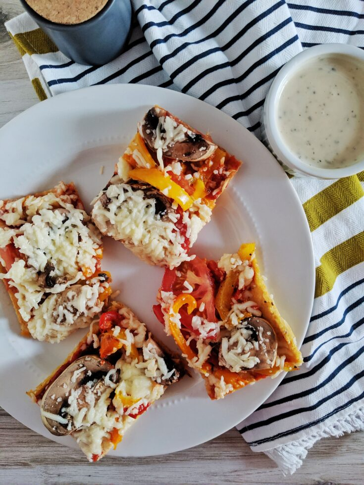Keto Chicken Crust Pizza with Roasted Vegetables