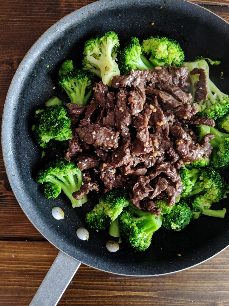 This Keto Beef and Broccoli is an easy, one-pan meal that is chock-full of nutrients and ready in 15 minutes. Perfect for a busy family who misses takeout!