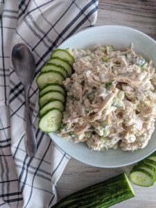 An easy chicken salad with all the flavors of a traditional greek gyro, Keto Tzatiki Chicken Salad is an easy to make instant lunch classic.  Throw it on a Josephs's lavash, or serve it with cucumbers and Jilz Crackers.