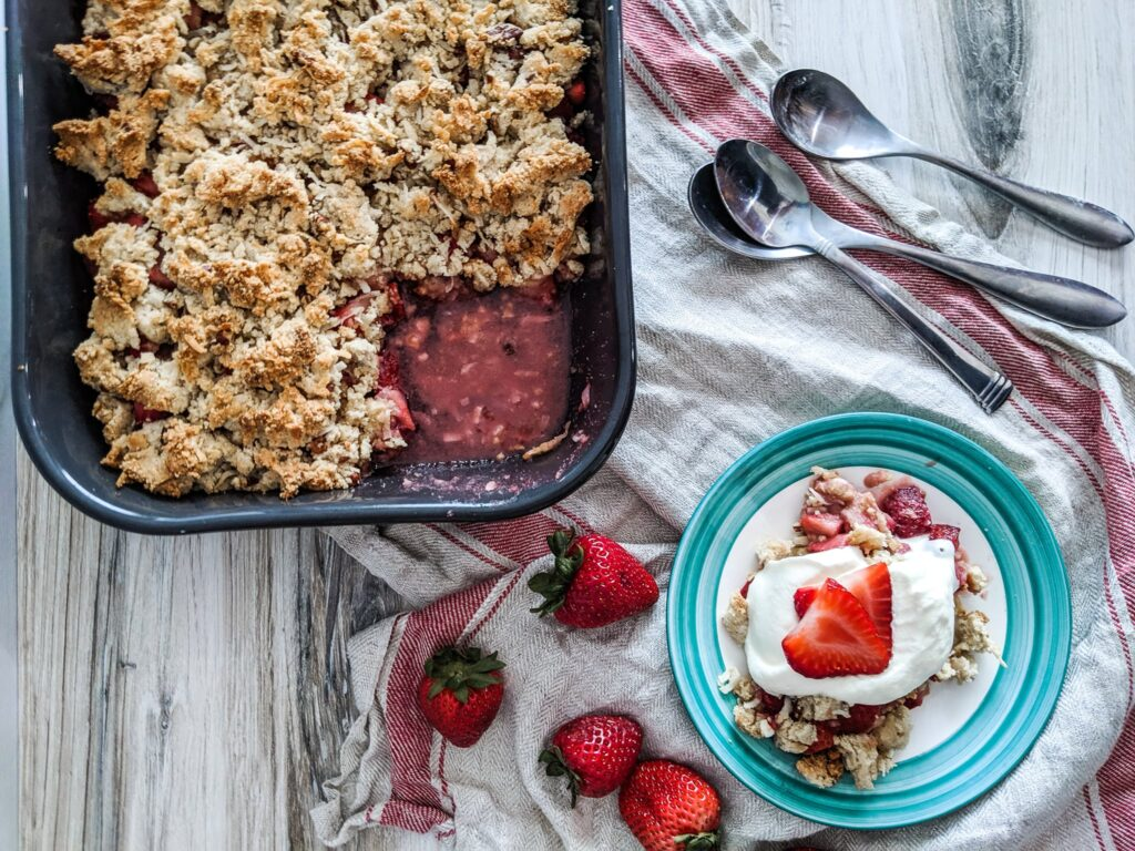 My grain-free Paleo Strawberry Crisp is keto-friendly, a THM:S, and low glycemic. Even better, it's easy to make with a crispy, buttery topping, and the natural sweetness of strawberries.