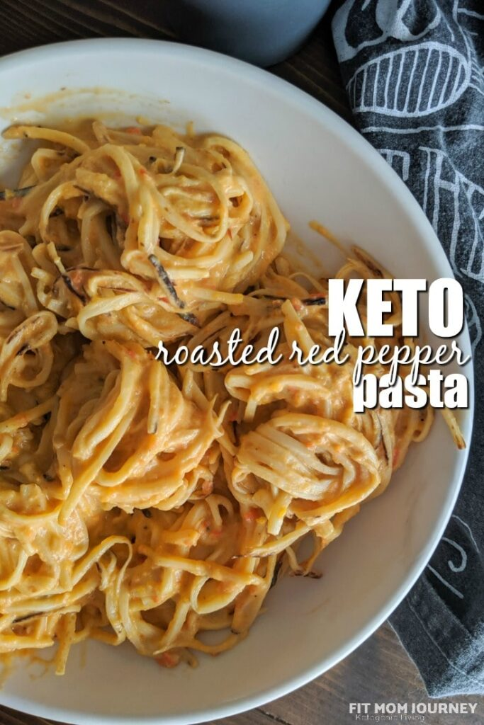 A creamy, roasted red pepper pasta that is keto-friendly, packed with vegetables, and requires only 6 ingredients! It's comfort food made healthy.