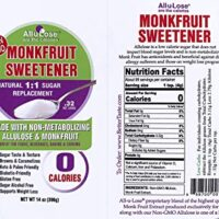 Monk Fruit Sweetener made with Allulose, Non-GMO 1:1 Sugar Replacement 14oz