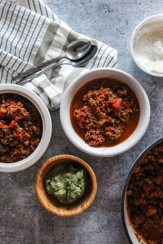 The best Keto Chili, packed with loads of healthy fats from grass-fed ground beef, vegetables, and of course that classic chili flavor with no beans! We have completely replaced our old chili with Keto Chili and love it.