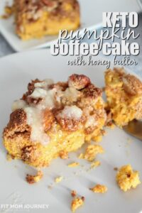 Keto Pumpkin Coffee Cake is the perfectly soft, seasonal treat with a deliciously sweet crumb topping and a keto honey butter. Make this cake for breakfast or for dessert!