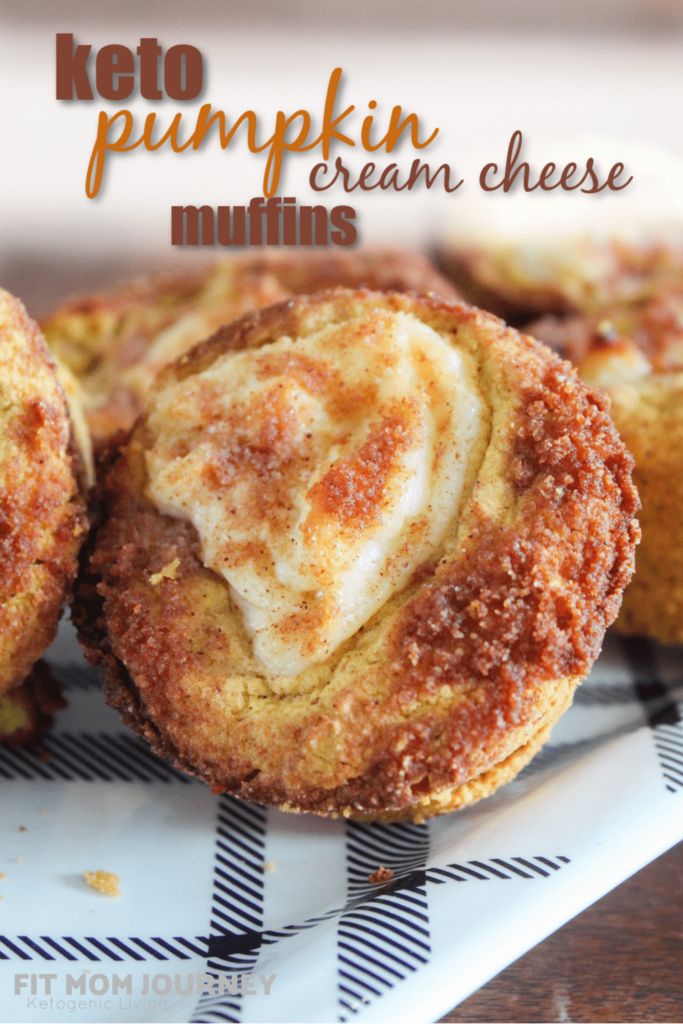 Cream cheese and pumpkin pie spice swirled in moist muffins and topped with cinnamon sugar streusel topping.  Keto Pumpkin Cream Cheese Muffins are a delicious fall breakfast or afternoon stack - great with a cup of pumpkin cream cold brew!
