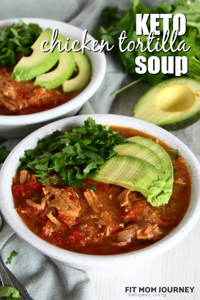 The longer it simmers, the better this Keto Chicken Tortilla Soup tastes!  Made to be packed with flavor as well as Paleo, Ketogenic, Low Carb, a THM:S and Grain Free, Keto Chicken Tortilla Soup is a soothing soup for cold weather.