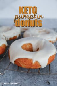 An absolutely decadentfall treat, Keto Pumpkin Donuts are sugar free, grain free, gluten free, low carb, and keto. They are baked in a donut pan, then frosted with a delicious glaze.