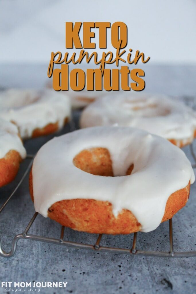 An absolutely decadent fall treat,  Keto Pumpkin Donuts are sugar free, grain free, gluten free, low carb, and keto.  They are baked in a donut pan, then frosted with a delicious glaze.