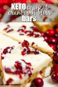 My copycat of the famous Starbucks Cranberry Bliss Bars, made low carb and ketogenic!  Keto Cranberry Bliss Bars have cranberries, notes of orange, and just enough sweetness to make it a delicious treat!