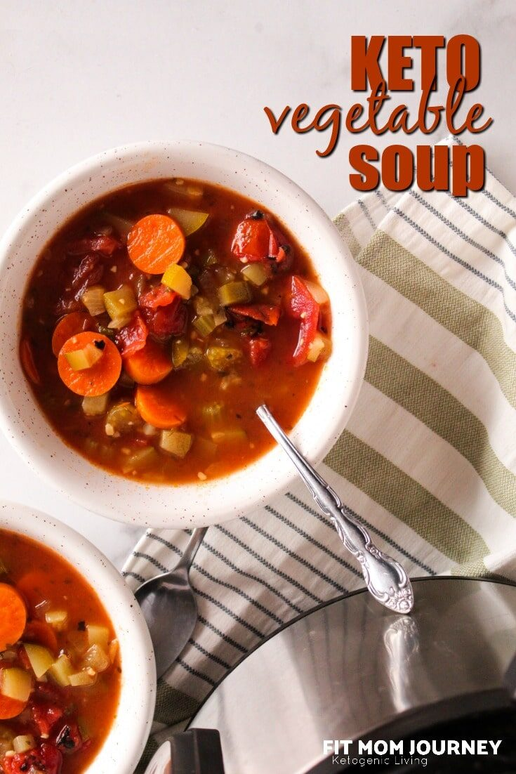 Keto Vegetable Soup is one of the most cozy foods on the planet.  Packed with low carb vegetables, bone broth, and seasonings, make it for dinner, or ahead for lunches and you'll be good to go!