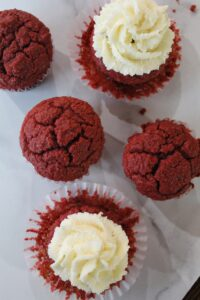 Keto Red Velvet Cupcakes are perfect for any time of year - and they're low carb, Ketogenic, a THM:S, Sugar Free, and Grain Free!