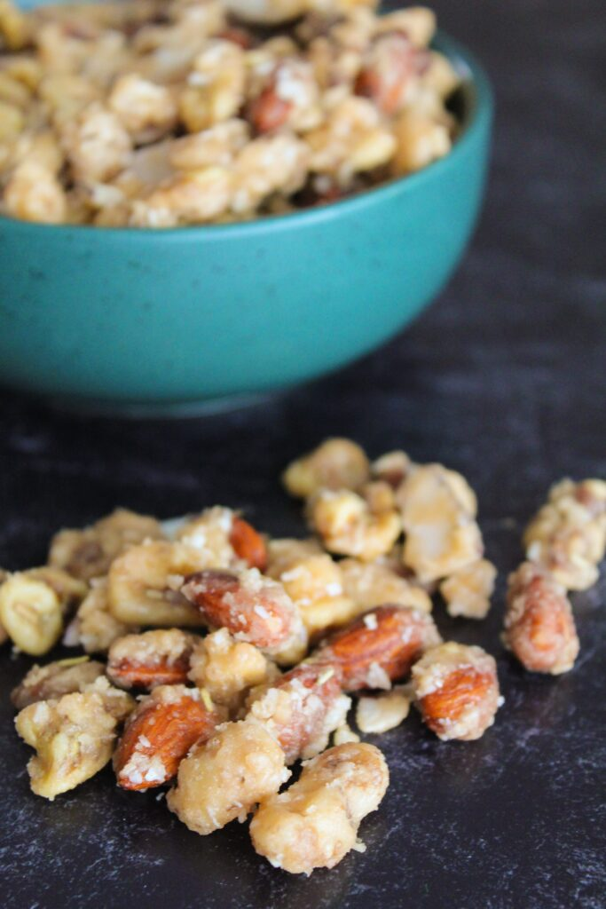 You know all those random bags of nuts and coconut you have hanging out in your pantry after you've been keto for a while?  This Low Carb Caramel Nut Snack Mix was made out of my desperation for both a snack and to use up some odds and ends - enjoy!