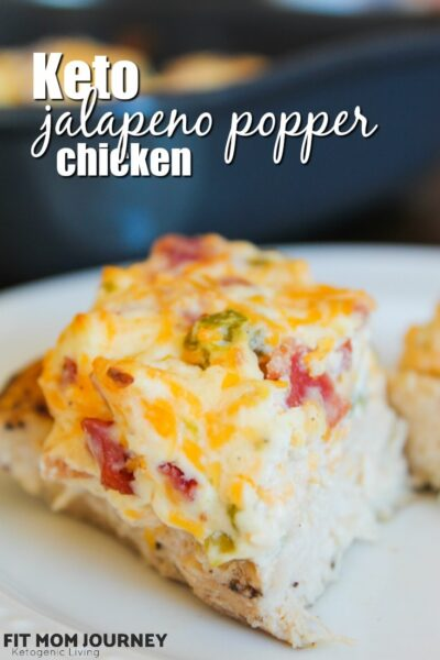 Keto Jalapeno Popper Chicken is a low carb casserole that makes everyone happy! Juicy chicken breasts, melty and spicy cheese topping make for a delicious dinner one day and lunch the next.