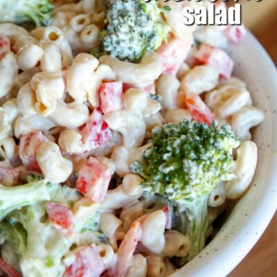 The perfect side dish for burgers off the grill, pork steaks, or smoked ribs, Keto Macaroni Salad is made with red peppers, broccoli, avocado oil mayo, and low carb noodles. An indulgent side dish for summer!