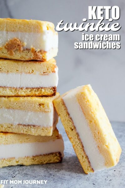 Let me show you how easy it is to make your own Keto Ice Cream Sandwiches inspired by a favorite childhood treat! These are reminiscent of a frozen twinkie but made ketogenic, sugar free, low carb, and a THM:S