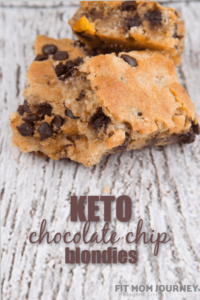 Buttery, chewy cookie bars loaded with chocolate chips, Keto Chocolate Chip Blondies are easy to make with only 1 bowl, and use super simple ingredients you probably already have on hand.