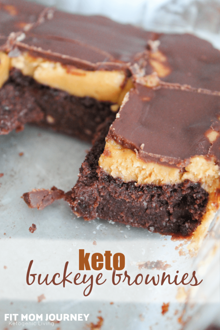 Buckeyes are a candy made from peanut butter fudge dipped in melted chocolate - so delicious! These Keto Peanut Butter Brownies are inspired by the classic buckeye treat, using a base of chocolate brownies, topped with peanut butter fudge, followed by a layer of melted chocolate.