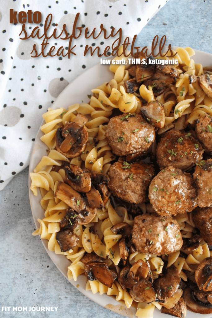 A Keto Salisbury Steak recipe - in meatball form - with mushroom gravy and ketogenic noodles.  Very easy to make and reheats well for weekday lunches.