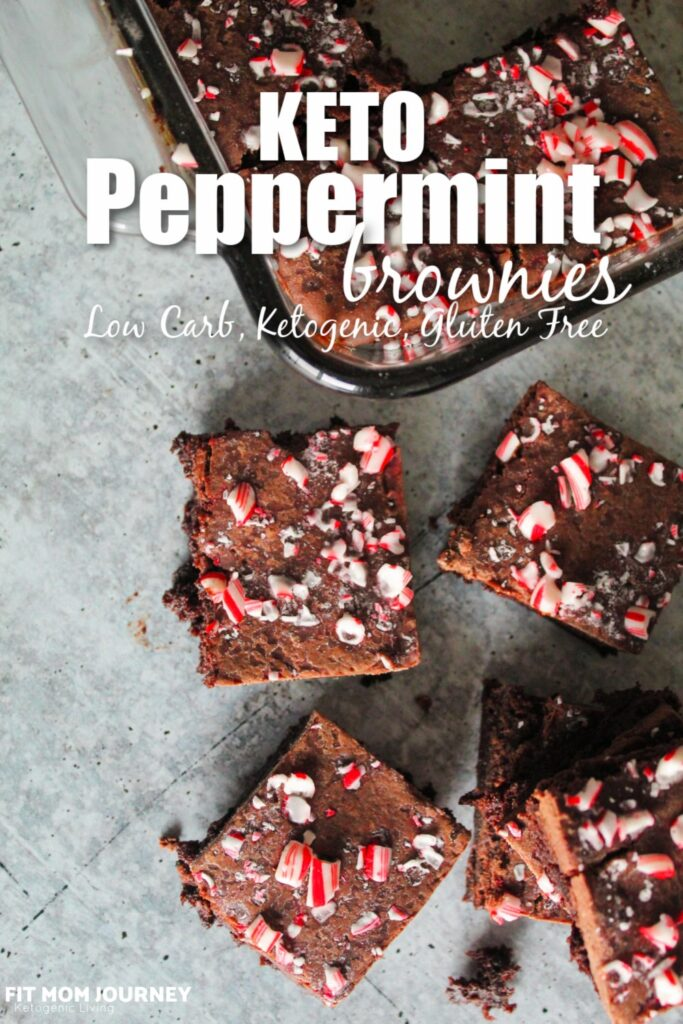 Classic Keto Fudge Brownies with peppermint extract and mint chocolate chips. These Keto Peppermint Brownies are topped with fudge icing and crushed candy canes.